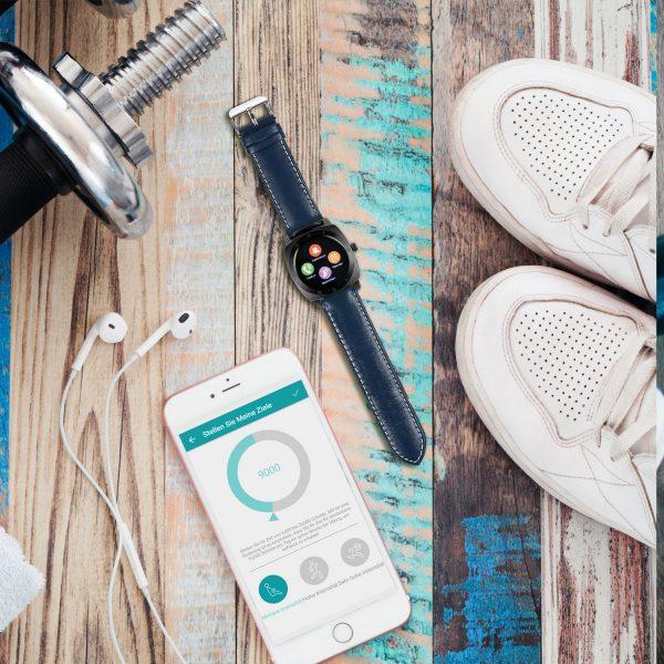 X-WATCH | NARA Black Chrome | Viele Watchfaces - Android & iOS - Top Smartwatches - Stilvolle Smartwatch Uhr