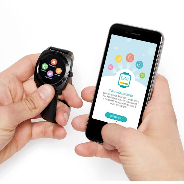 X-WATCH | NARA Black Chrome | Handy Uhr - Smartwatch Bestenliste - Smartwatch Whatsapp fähig