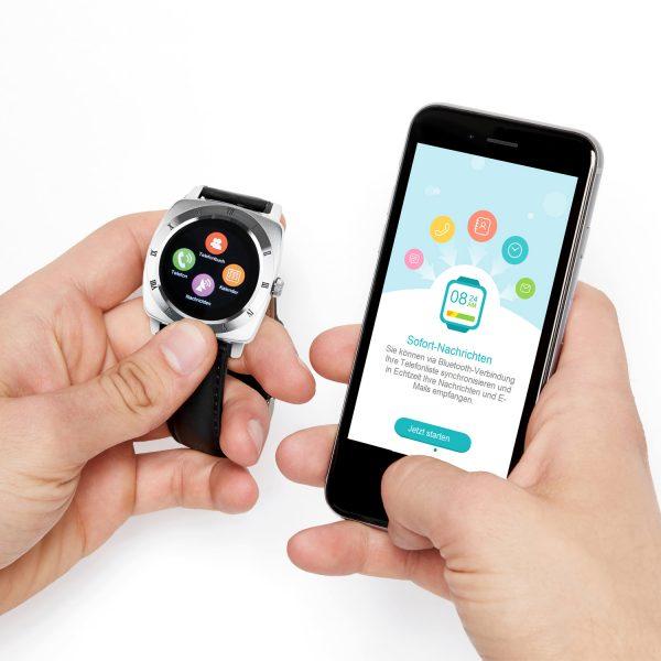 X-WATCH | NARA Smartwatch 3 – Fitness Armband mit Pulsmesser – Smartwatch rund