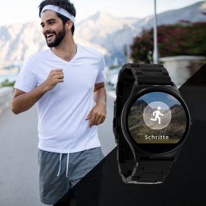 X-WATCH | QIN XW Dark Steel | smartwatch mit pulsmesser-Edelstahl Smartwatch