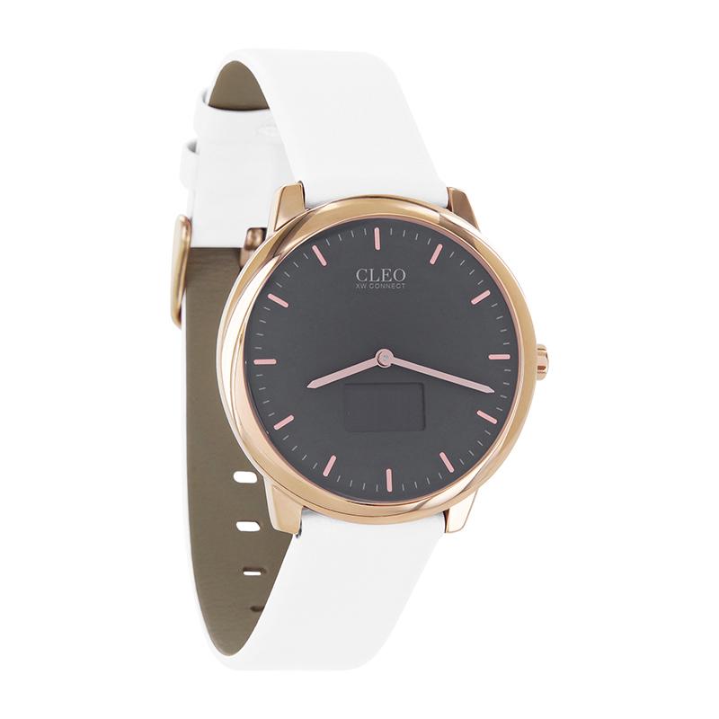 CLEO_XW_Connect_Damensmartwatch_Lederarmband_weiß